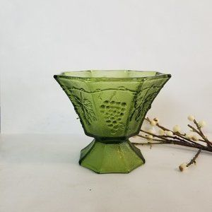 Vintage Green Depression Glass Footed Dish